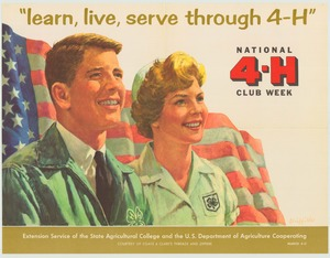 Thumbnail for the first (or only) page of learn, live, serve through 4-H March 4-11 (1961)..