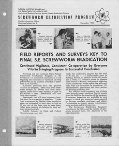Thumbnail for the first (or only) page of Screwworm Eradication Program:  Field Reports and Surveys Key to Final S. E. Screwworm Eradication.