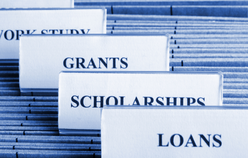 Files with Tabs: Loans, Scholarships, Grants:  Copyright iStock Photos