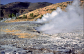 Geothermal energy from hot springs (Photo credit NREL).