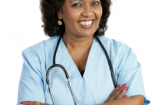 woman in blue health provider uniform: Copyright istock photos