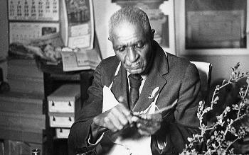 Portrait of George Washington Carver at work at Tuskegee University, Alabama