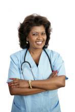 woman in blue health provider uniform: Copyright istock photos