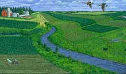 A colored illustration of a farm and field. NRCS.