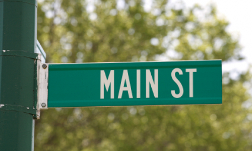 "Green sign with ""Main St"" text: Copyright iStock Photos"