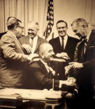 President Johnson after signing the Laboratory Animal Welfare Act, 1966 (Senator Magnuson, Representative Poage, Representative Horton, Senator Clark)
